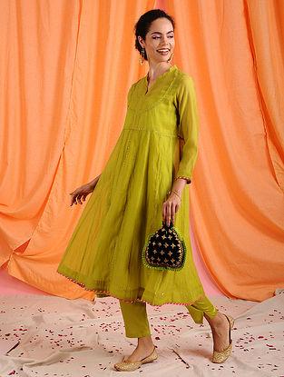AARA - Green Hand Mukaish Chanderi Mul Kurta with Slip