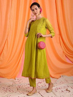 CHAARUVI - Green Hand Mukaish Chanderi Mul Kurta with Slip