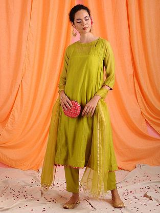 FARIZA - Green Hand Mukaish Chanderi Mul Kurta with Slip