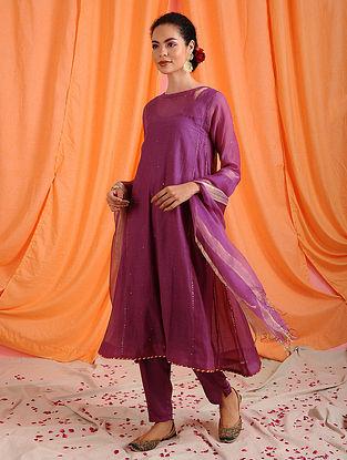 JAHANVI - Pink Hand Mukaish Chanderi Mul Kurta with Slip