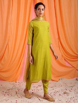 PRESHTI - Green Hand Mukaish Chanderi Mul Kurta with Lining