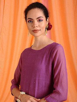 ANISA - Pink Hand Mukaish Chanderi Mul Kurta with Lining