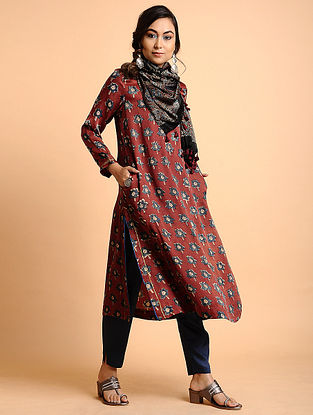 Red Natural Dyed Ajrakh Printed Modal Kurta