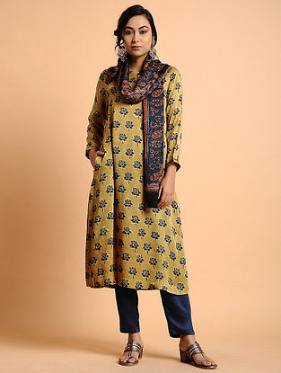 Yellow Natural Dyed Ajrakh Printed Modal Kurta