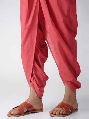 Coral Elasticated-waist Cotton Dhoti Pants by Jaypore