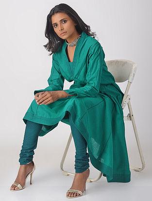 Green Handloom Cotton Kalidar Kurta with Top Stitch Detail