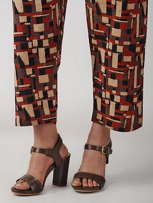 Madder-Beige Tie-up Waist Ajrakh Cotton Pants by Jaypore