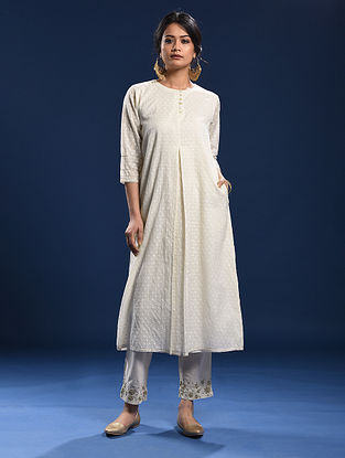 TALASARI - Ivory Silk Cotton Cutwork Kurta with Gota