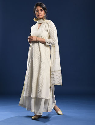 VARCA - Ivory Silk Cotton Cutwork Kurta with Gota