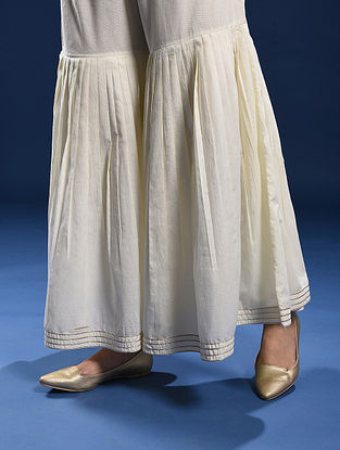 KANYAKUMARI - Ivory Elasticated-waist Cotton Sharara with Pleats