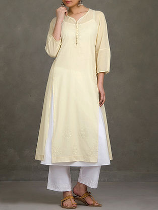 Beige Mukaish and Thread Embroidered Button Embellished Mul Kurta with Cotton Slip (set of 2)