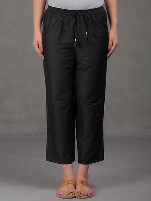 Black Elasticated Tie-Up Waist Cotton Pants