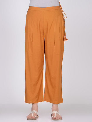 Mustard Tie-Up Waist Cambric Pants