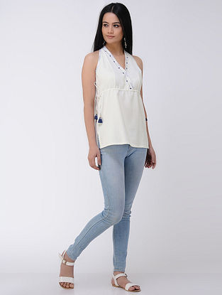 Ivory Kantha-embroidered Cotton Khadi Top with Mirror Work