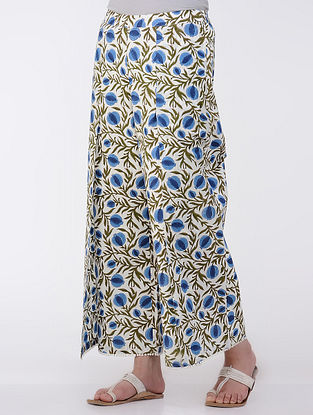 Ivory-Blue Elasticated Waist Printed Cotton Pants