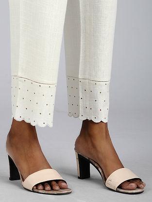 Ivory Embroidered Cotton Slub Pants