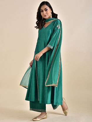 Teal Embroidered Chanderi Kurta with Voile Slip (Set of 2)