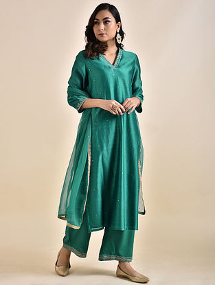 Teal Embroidered Chanderi Kurta with Voile Lining