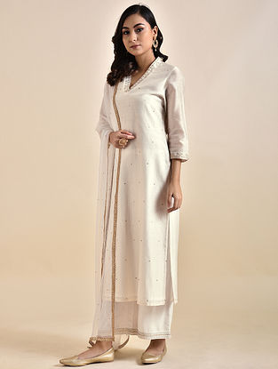 Ivory Embroidered Chanderi Kurta with Voile Lining