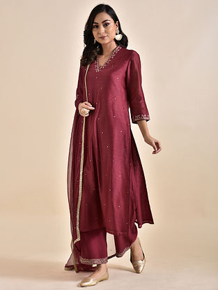 Red Embroidered Chanderi Kurta with Voile Lining