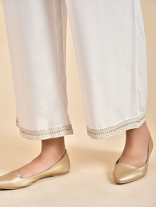 Ivory Embroidered Rayon Pants