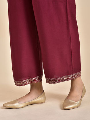 Red Embroidered Rayon Pants