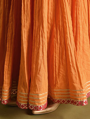 Orange Cotton Skirt with Gota Work and Voile Lining