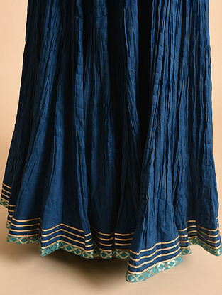 Blue Cotton Skirt with Gota Work and Voile Lining