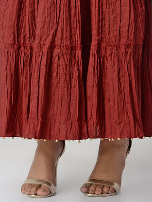 Red Crinkled Tie-up Waist Cotton Cambric Skirt