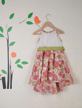 White-Pink Block Printed Asymmetrical Cotton Dress