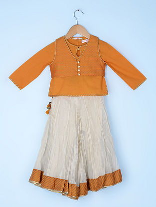 Orange Cotton Cambric Kurti with Katan Silk Jacket and Kota Doria Crinkled Sharara (Set of 3)
