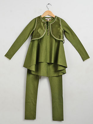 Green Embellished Cotton Cambric Kurta-Churidar with Organza Silk Jacket (Set of 3)