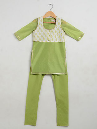 Green Embellished Chanderi and Cotton Cambric Kurta-Churidar with Silk Jacket (Set of 3)