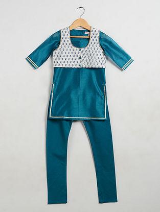 Blue Embellished Chanderi and Cotton Cambric Kurta-Churidar with Silk Jacket (Set of 3)