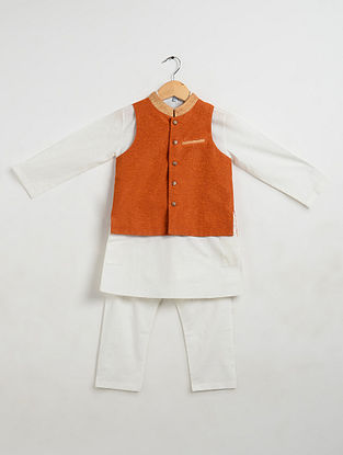 Orange-Off White Cotton Kurta-Pyjama with Nehru Jacket for Boys (Set of 3)