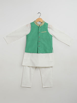 Green-Off White Cotton Kurta-Pyjama with Nehru Jacket for Boys (Set of 3)