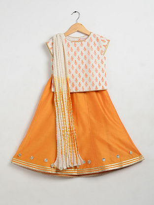 Orange Printed Cotton and Chanderi Lehenga-Choli with Mul Mul Dupatta (Set of 3)