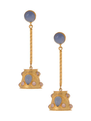 Blue Pink Gold Plated Jhumki Earrings