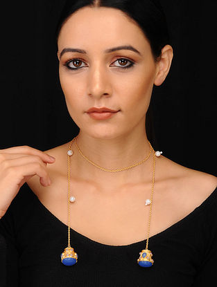 Blue Pink Gold Plated Necklace with Pearls