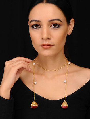 Pink Green Gold Plated Necklace with Pearls