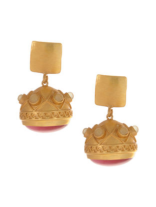 Pink Green Gold Plated Jhumki Earrings