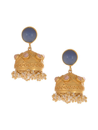 Blue Pink Gold Plated Jhumki Earrings with Pearls