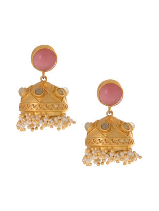 Pink Green Gold Plated Jhumki Earrings with Pearls