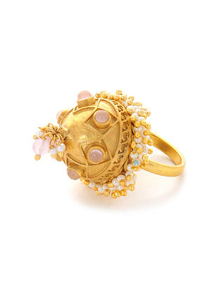 Pink Gold Plated Adjustable Ring with Pearls