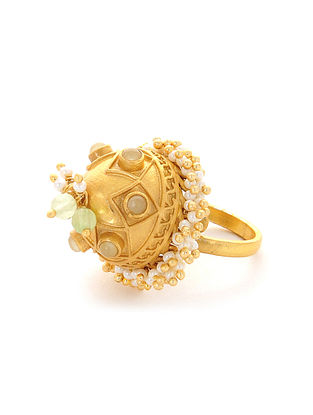Green Gold Plated Adjustable Ring with Pearls