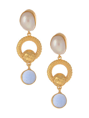 Blue Gold Plated Earrings with Pearls