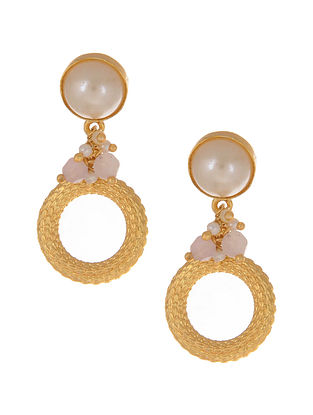 Pink Gold Plated Earrings with Pearls