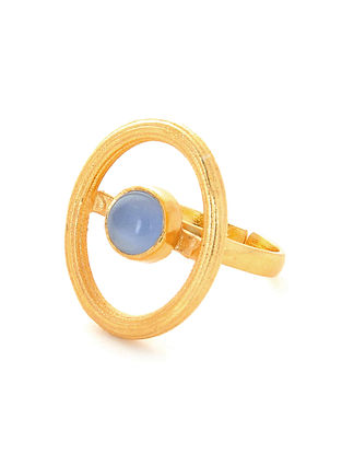 Blue Gold Plated Adjustable Ring