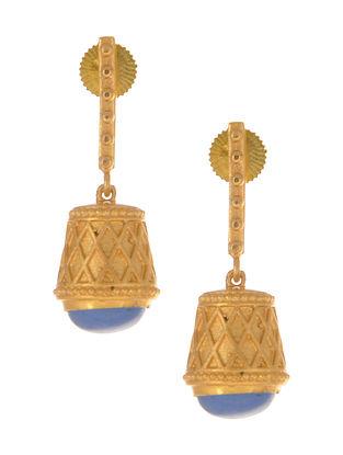 Blue Gold Plated Jhumki Earrings