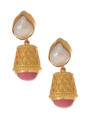 Pink Gold Plated Jhumki Earrings with Pearls